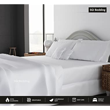 SGI bedding Queen Sheets Luxury Soft 100% Egyptian Cotton Sheets 1000 Thread Count for Queen Mattress White Solid