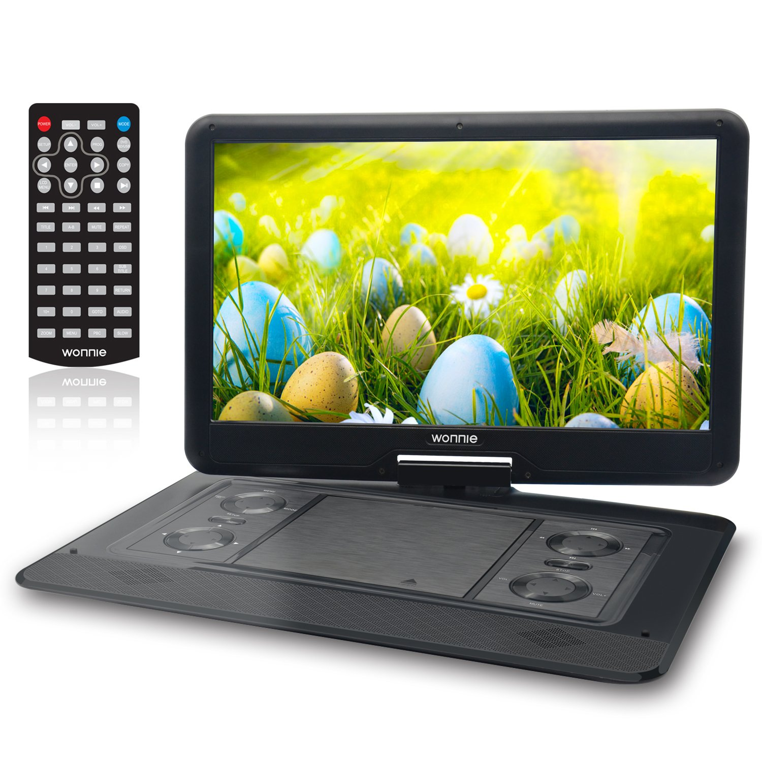 15.6 Inch Portable DVD Player for Car with Games Function for Kids, USB / SD Slot (Black) by WONNIE