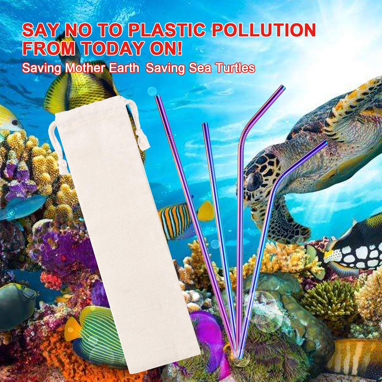 Metal Straws Stainless Steel Straws 16 Pcs 105 85 Multicolor Reusable Drinking Straws for 2030 Oz