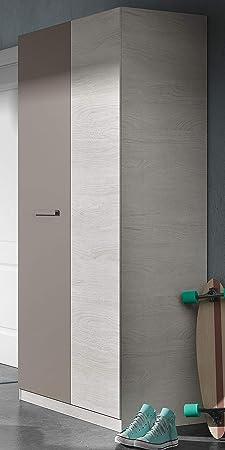 Armario ropero Juvenil 2 Puertas con Barra y 3 estantes 90x200 cm Acabado Unisex