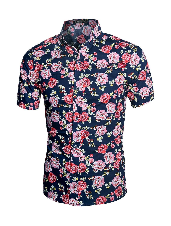Allegra K Men Collared Short Sleeves Floral Slim Fit Shirt