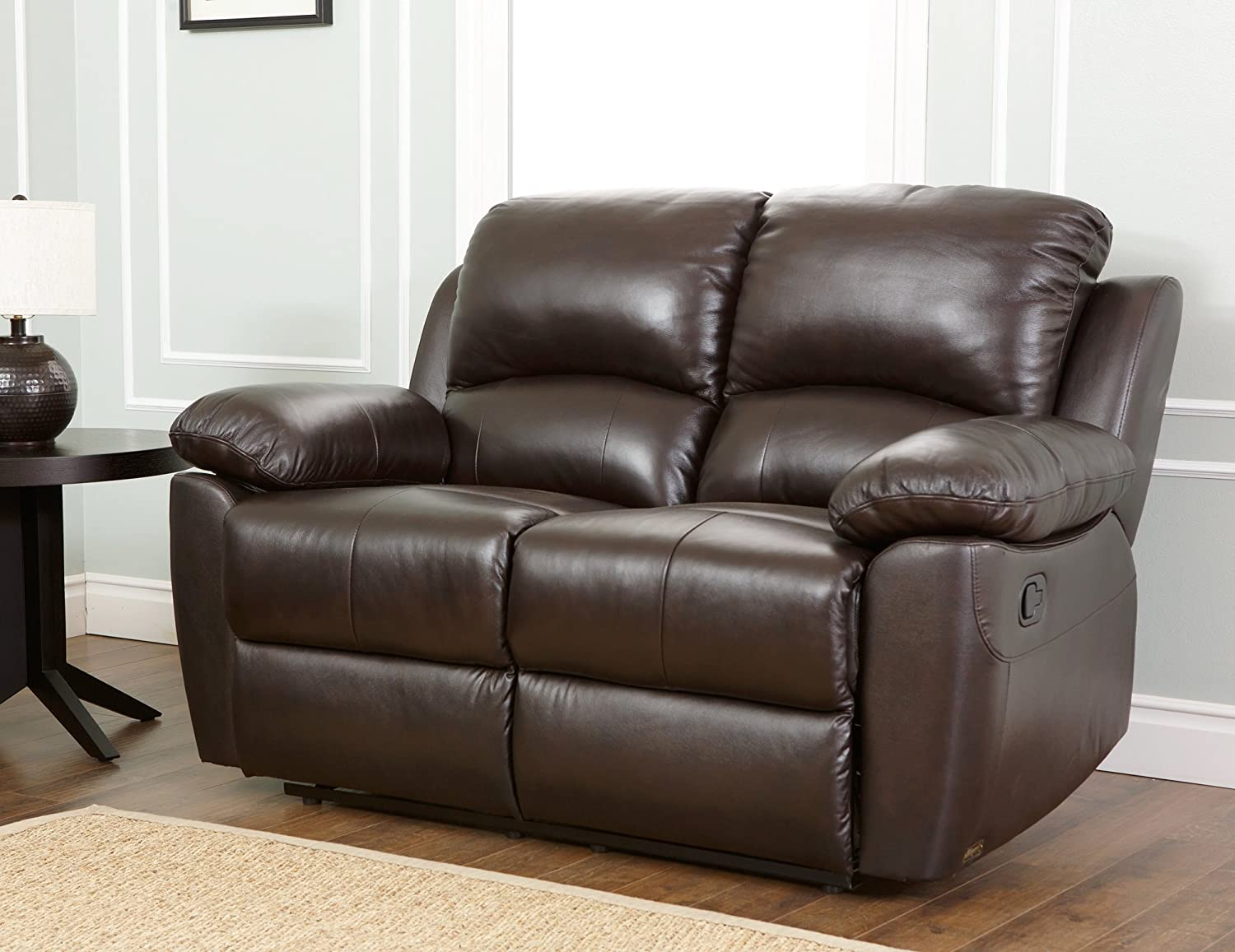 Amazon.com: Abbyson Westwood Top Grain Leather Loveseat, Brown: Home U0026  Kitchen
