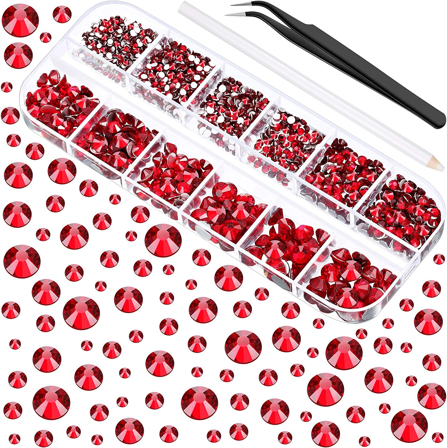 2000 Pieces Flat Back Gems Round Crystal Rhinestones 6 Sizes (1.5-6 mm) with Pick Up Tweezer and Rhinestones Picking Pen for Crafts Nail Face Art Clothes Shoes Bags DIY (Dark Red)