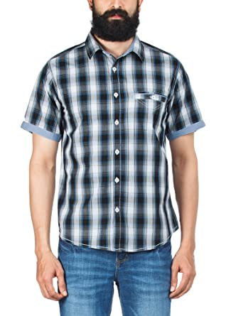 Zovi Slim Fit Casual Cotton Blue, Black And White Checkered Shirt ...