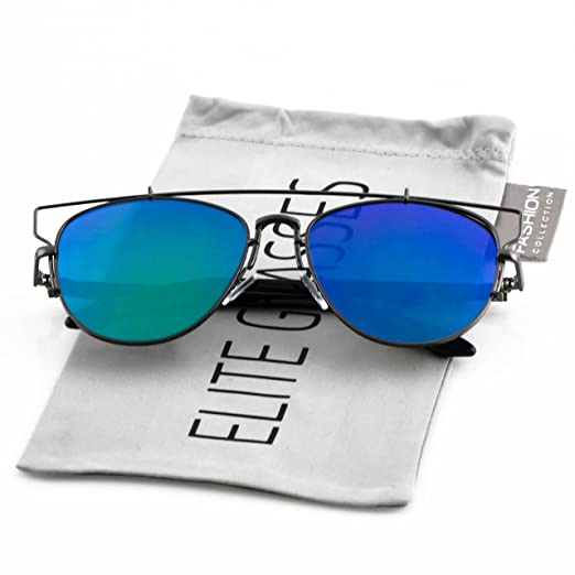 6452fbfbee99f Elite Flat Top Metal Crossbar Modern Retro Mirrored Lens Mens Womens Aviator  Sunglasses (Black Frame