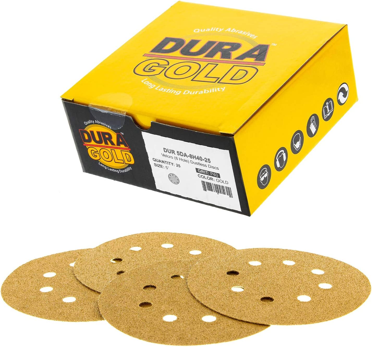 """Dura-Gold - Premium - 40 Grit - 5"""" Gold Sanding Discs - 8-Hole Dustless Hook and Loop for DA Sander - Box of 25 Finishing Sandpaper Discs for Woodworking or Automotive"""