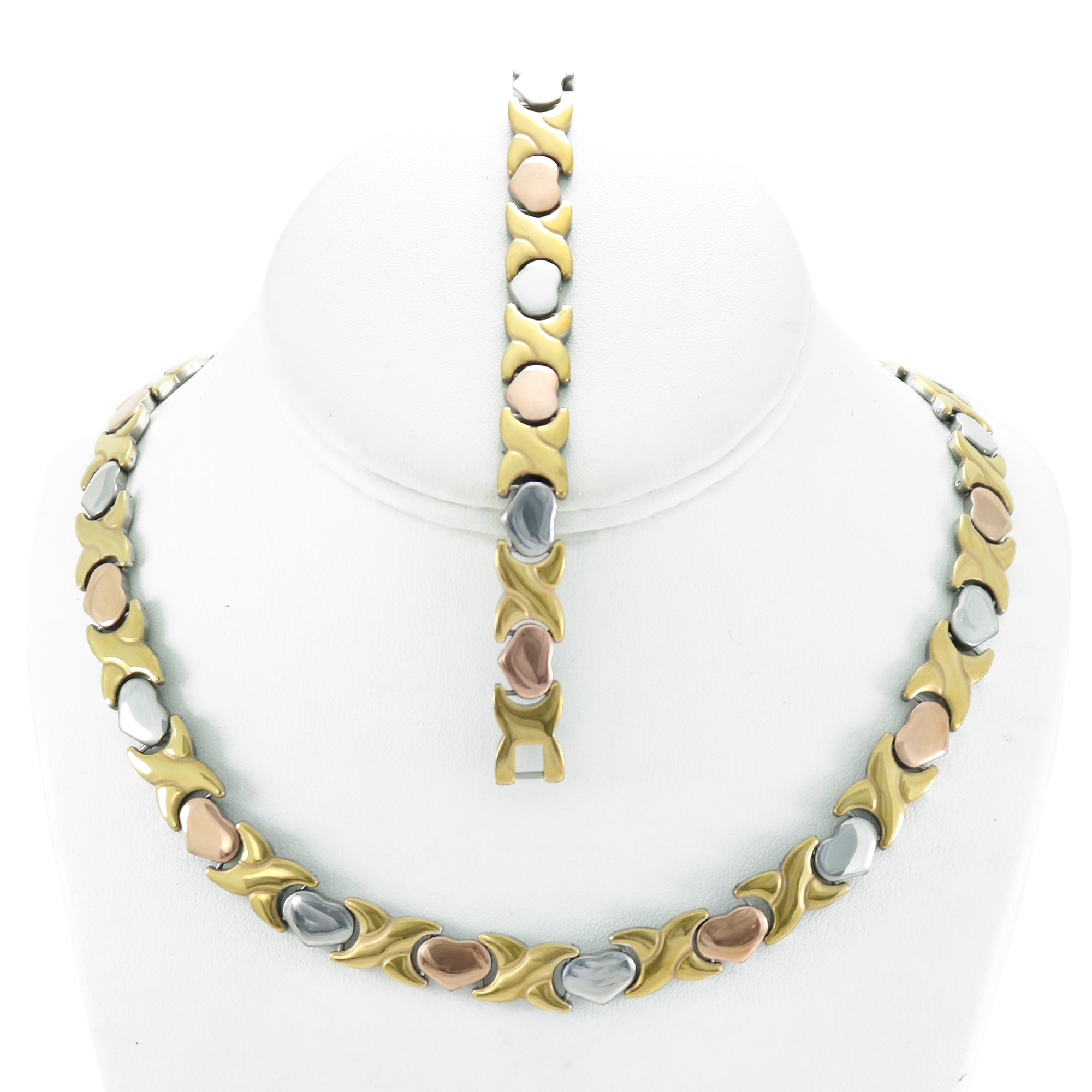 NEW 11mm Width Womens Three Tone (Gold Rose & Silver) XOXO Stampato Necklace and Bracelet Set 18/20'' LENGTH (Necklace Length 20'')