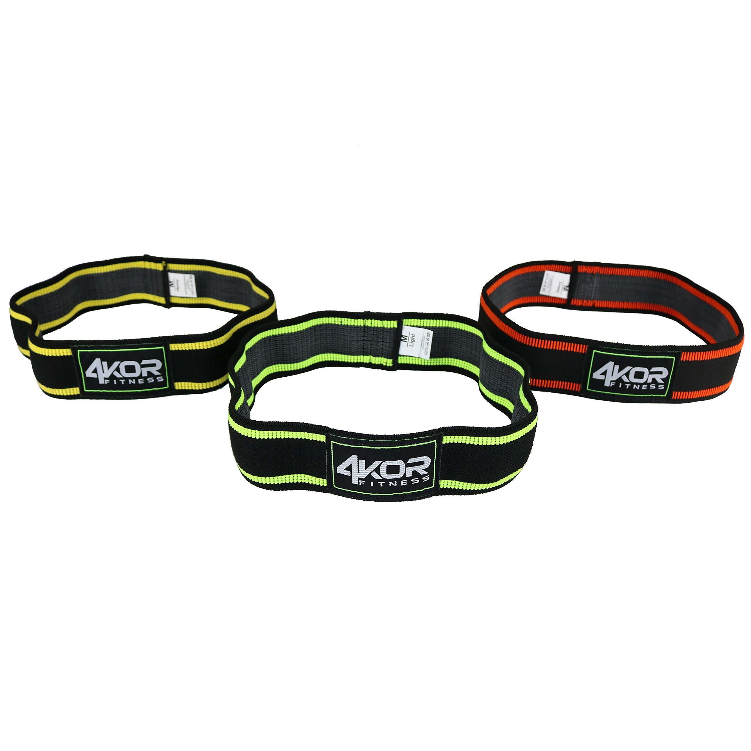 4KOR Fitness Resistance Loop Band Set, Perfect for Crossfit, Yoga, Physical Therapy, and Booty Building (2 Inch Hip Bands 3 Piece Set/Grippy/Medium)