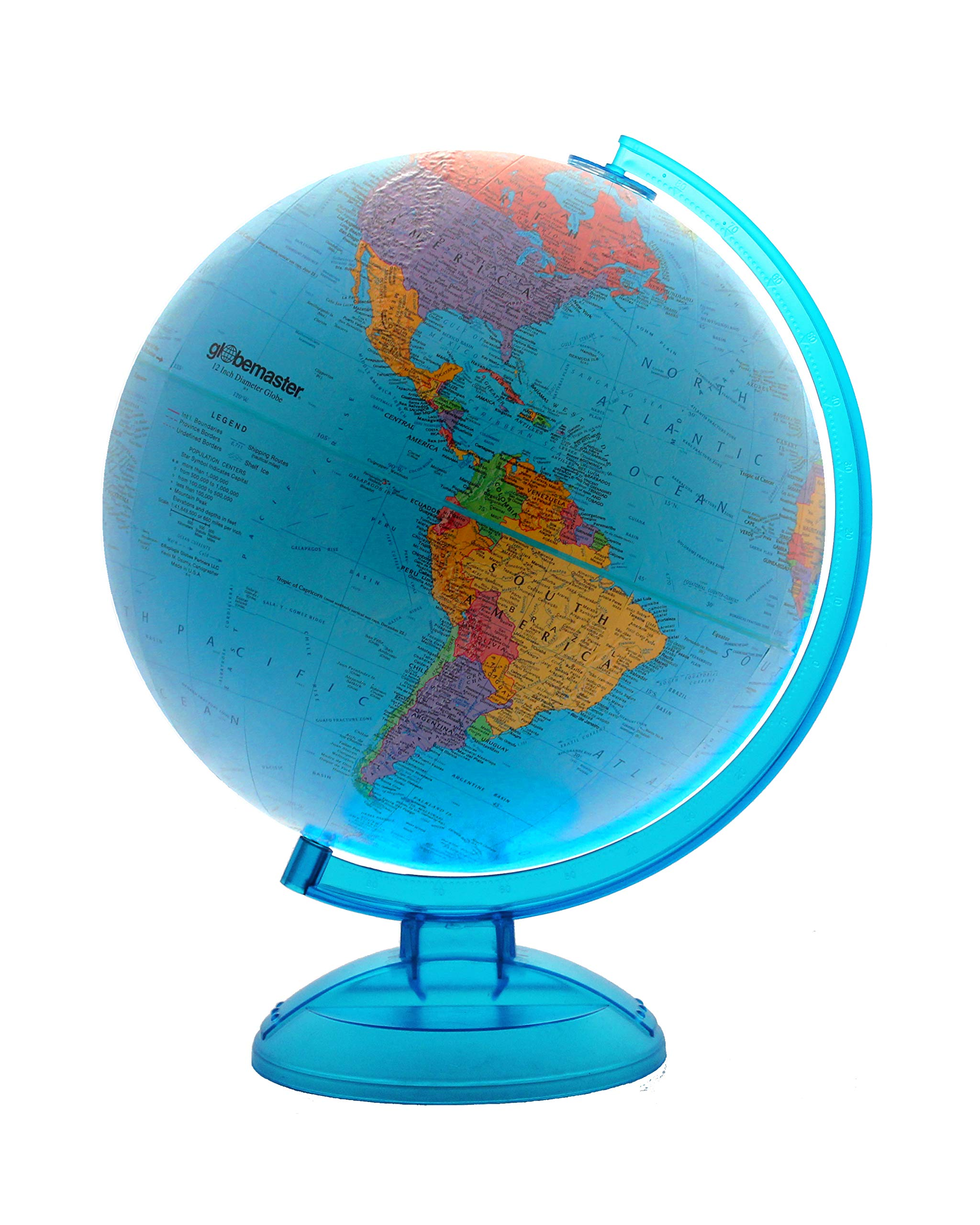 Blue Ocean World Globe By Globemaster, Desktop, English (12''/30 Centimeter Diameter)