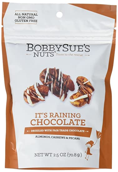 BobbySue's Nuts - It's Raining Chocolate Style - All Natural Gourmet Nut  Mix of Almonds, Cashews,