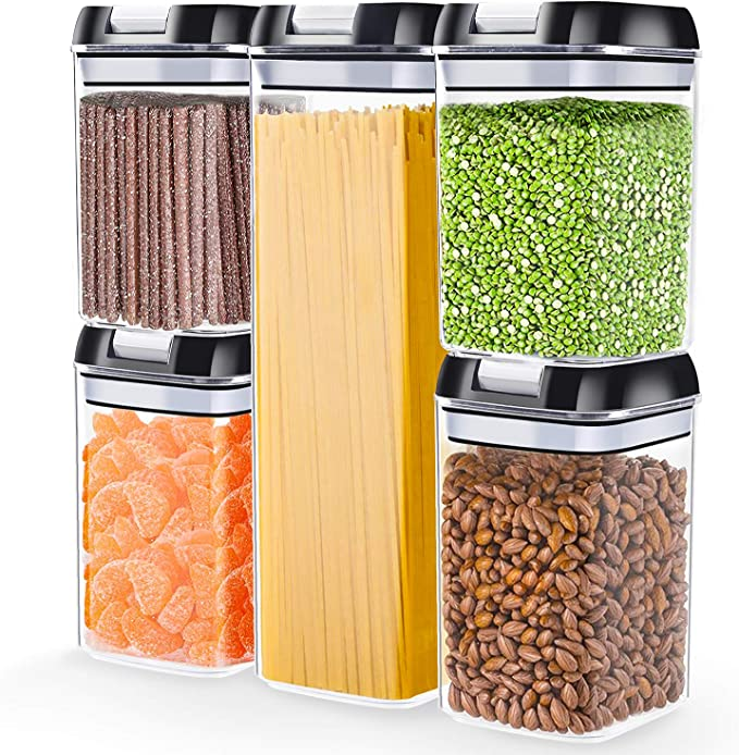 Amazon.com: Airtight Food Storage Containers with Lids, 5 Pieces Kitchen Pantry Storage Containers BPA Free Plastic Cereal Containers for Pantry Organization and Storage: Kitchen & Dining