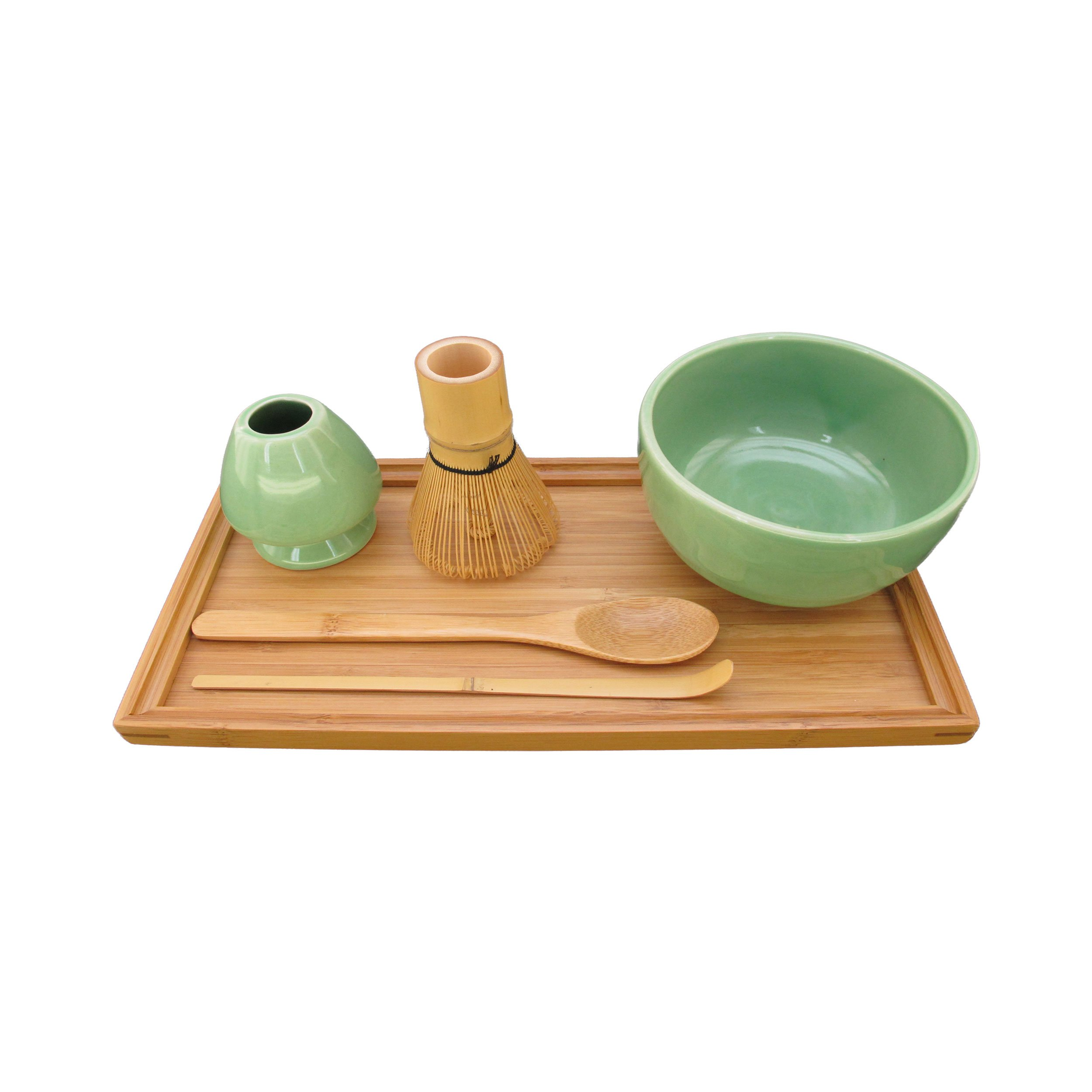 BambooMN Brand - Matcha Bowl Set (Includes Bowl, Rest,Tea Whisk, Chasaku, Tea Spoon & Tray) 1 Set Soft Light Green