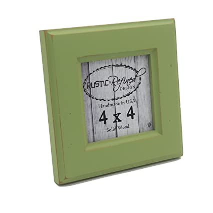 4x4 Square Picture Frame with 1 5 Inch Border (Moab Collection) - Green  Apple