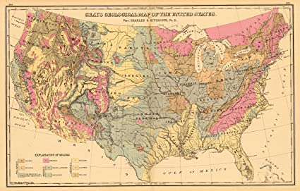 Amazon.com: Vintage Map   1882 Gray\'s Geological Map of the ...