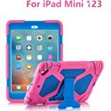 iPad Mini 3 Case, ACEGUARDER Full Body Protective Cover with Built-in Screen Protector & Adjustable Kickstand for iPad Mini 1 2 3 (Pink Blue)