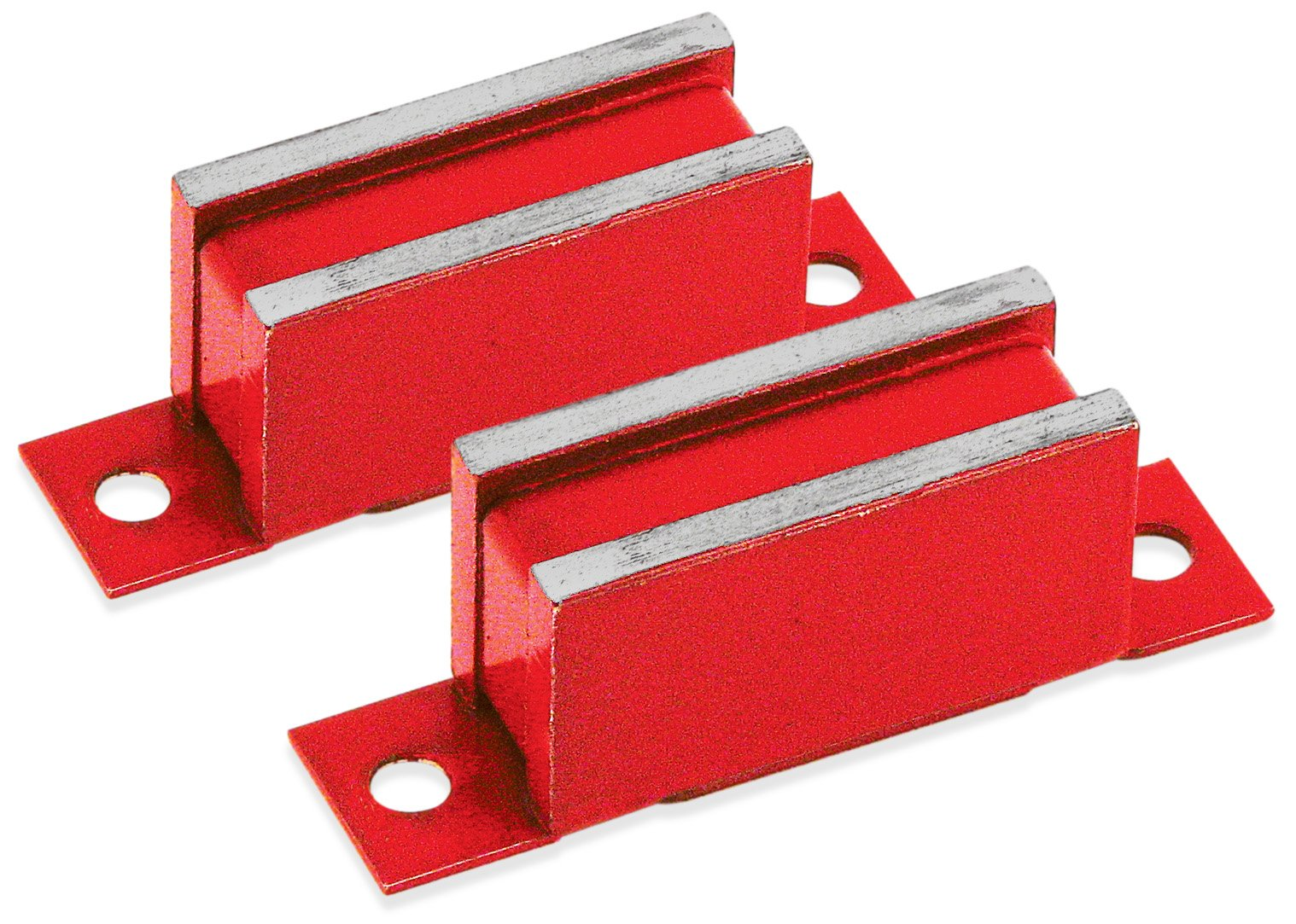 Master Magnetics LM-50BX2 Magnet Catch, Industrial Type with Mounting Holes Painted Red, 3'' Length, 0.75'' Width, 1.062'' Height, 50 Pounds (Pack of 2)