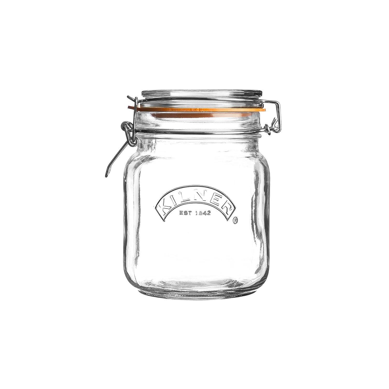 Kilner Clip Top Square Glass Jar, 1 Litre 25.511