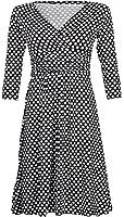Glamour Empire Women's Softly Draping Polka Dot Dress Summer Spot Dress 017
