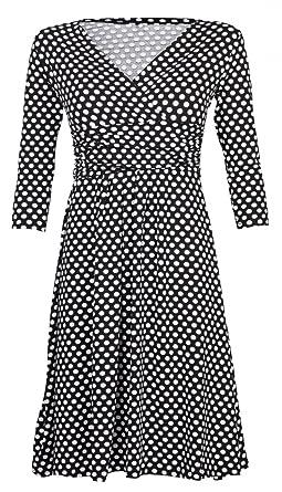 5efc5d58b44 Glamour Empire Femme Robe imprimé pois à taille froncée Robe été Manches  3 4 017