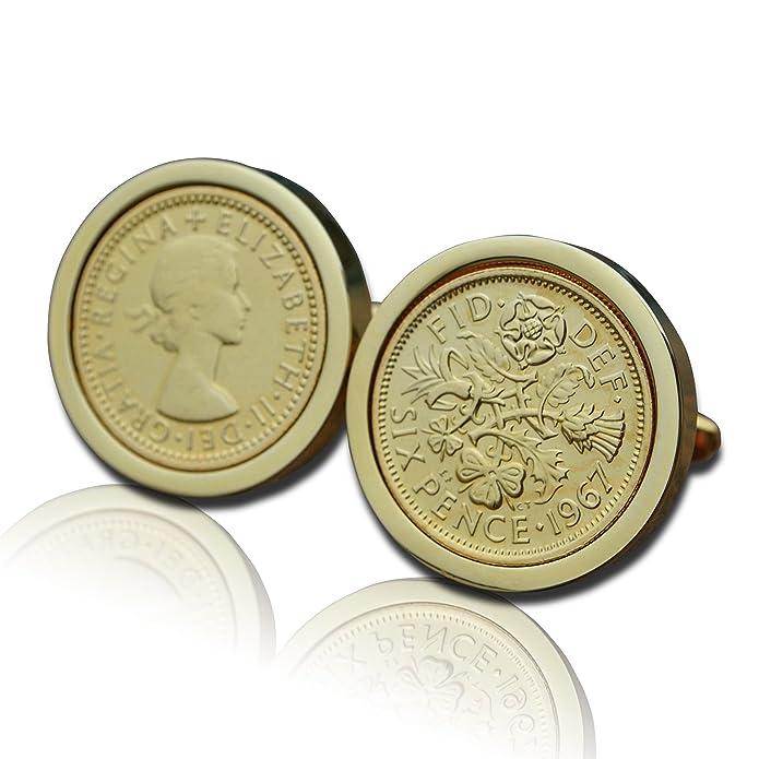 1967 chapado en oro moneda de seis peniques Gemelos Vintage ...