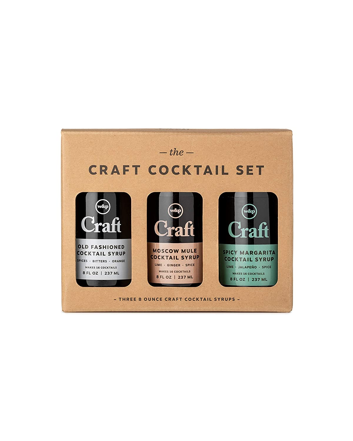 W&P Craft Cocktail Syrup Set, Old Fashioned, Moscow Mule, Spicy Margarita | Variety Pack, 8 Ounce Each, 3 Bottles | Cocktail Mixer, Handcrafted in Small Batches, Craft Cocktail, Bar Collection