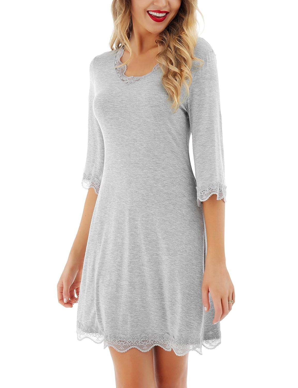 TALLA S . Dromild Camisa de Dormir para Mujer 3/4 Mangas con Cuello en V camisón Ropa de Dormir de Encaje Sexy
