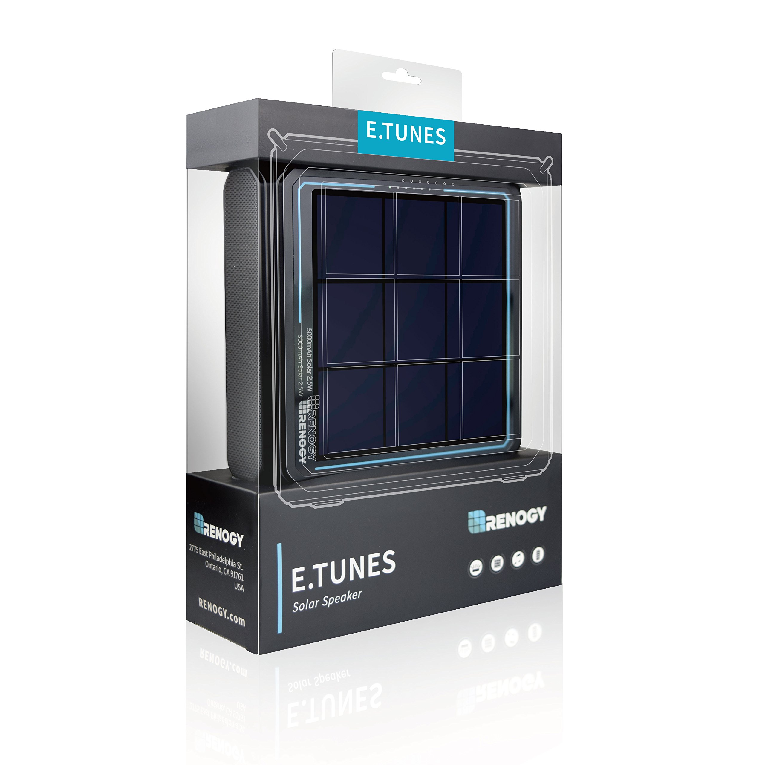 Renogy - E.TUNES - Portable Solar Power Wireless Bluetooth Outdoor Speaker for Beach, Poolside, Biking, and Camping