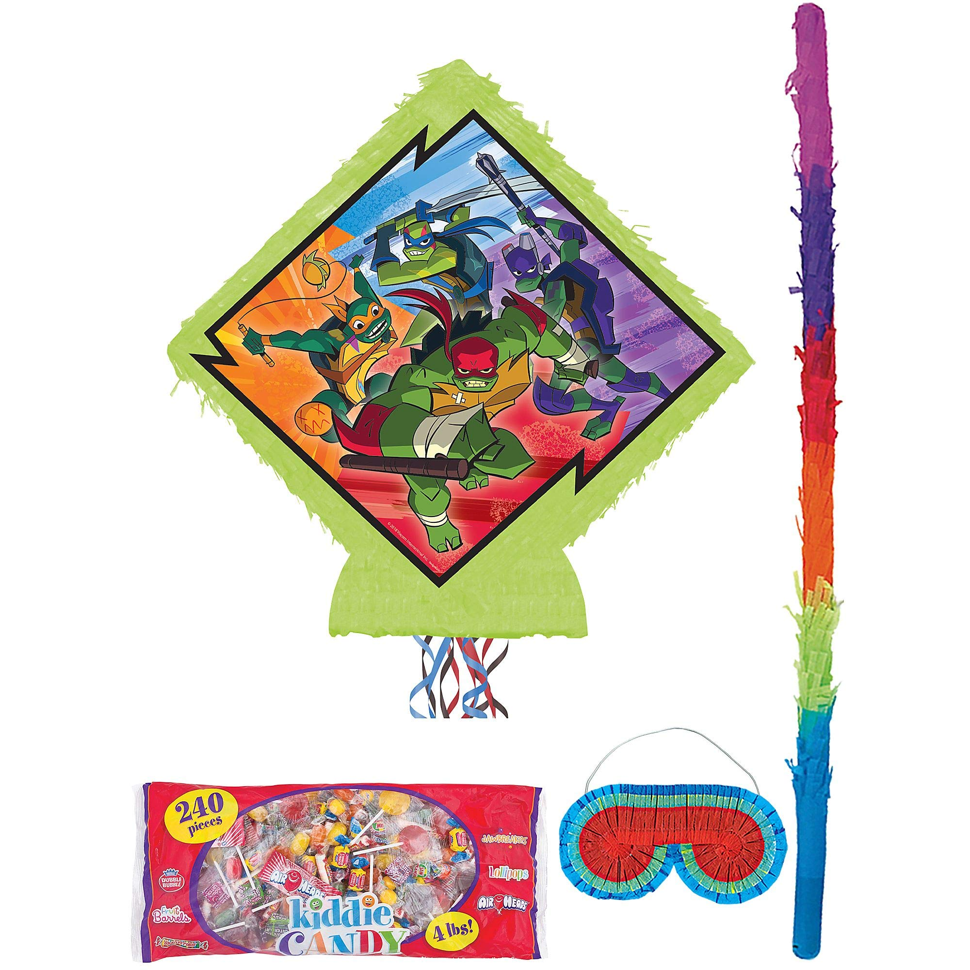 Party City Pull-String Rise of the Teenage Mutant Ninja Turtles Pinata Supplies, Include a Stick, a Blindfold, and Candy