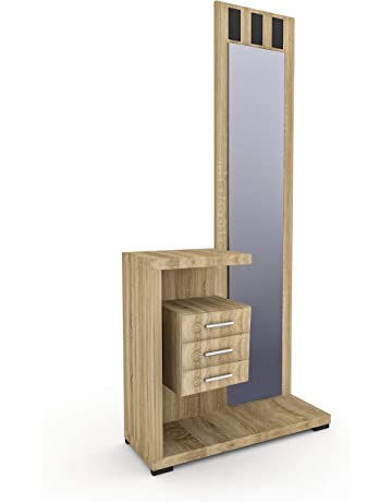 HomeSouth - Recibidor con Espejo y Tres cajones, Mueble de Entrada, Modelo Prisma,