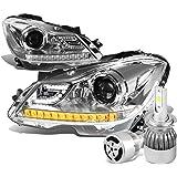 Mercedez Benz C-Class W204 3D Halo Projector Chrome Housing Headlights W/ Amber LED Signal + H1 LED Kit W/ Fan