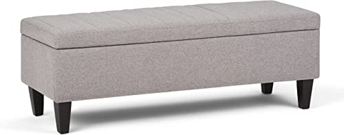 SIMPLIHOME Monroe 48 inch Wide Rectangle Lift Top Storage Ottoman
