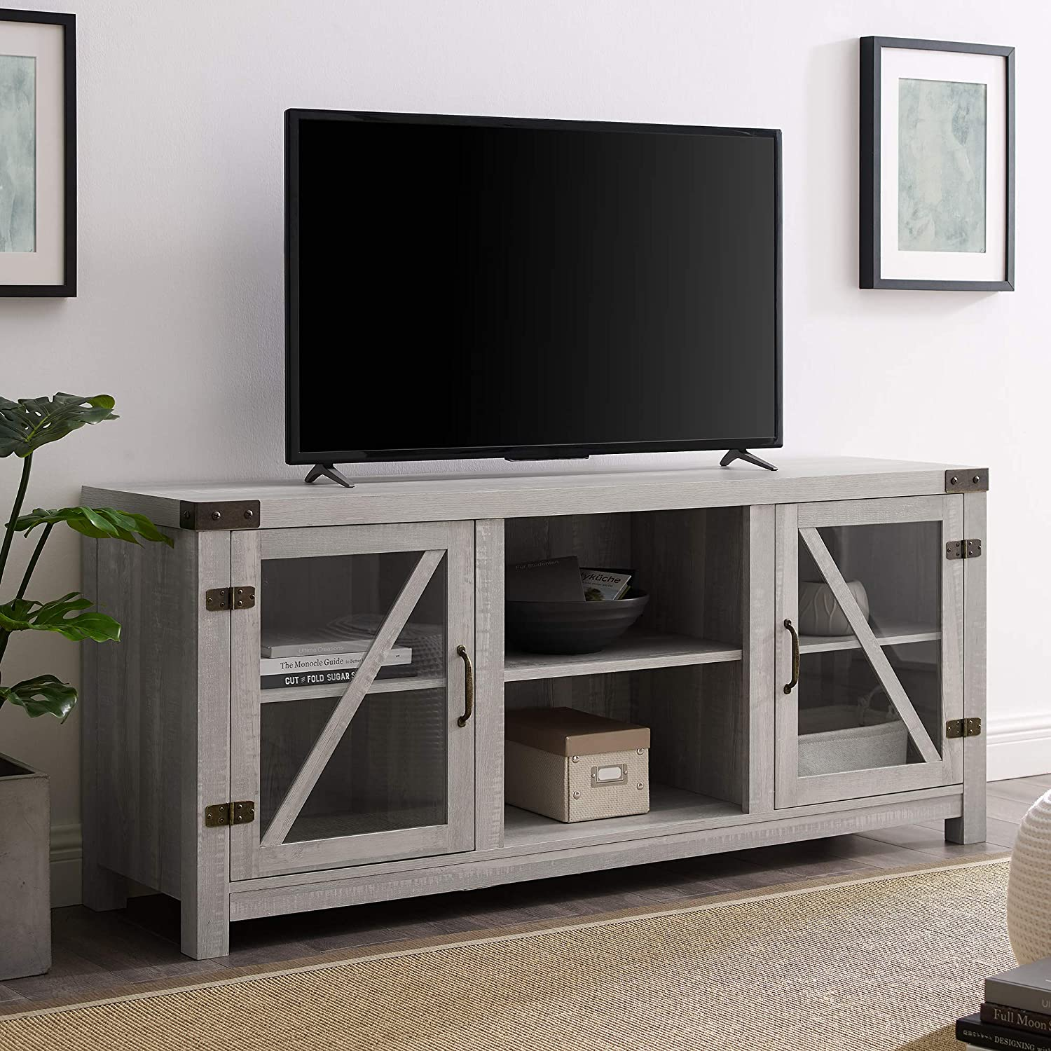 "WE Furniture TV Stand, 58"", Stone Grey"