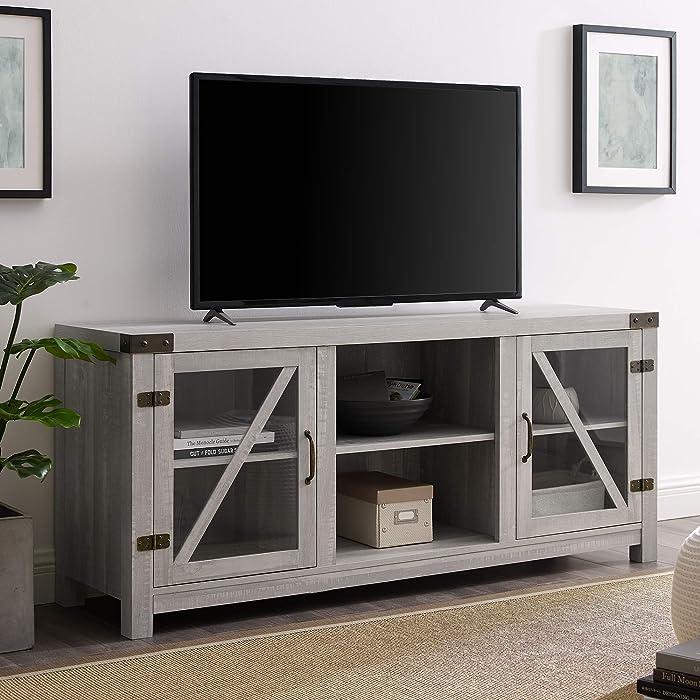 "WE Furniture TV Stand, 58"", Stone Grey"