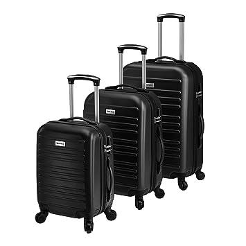 [pro.tec] Set de 3 Maletas - Negro - 3 Maletas duras Flexibles de Plástico ABS