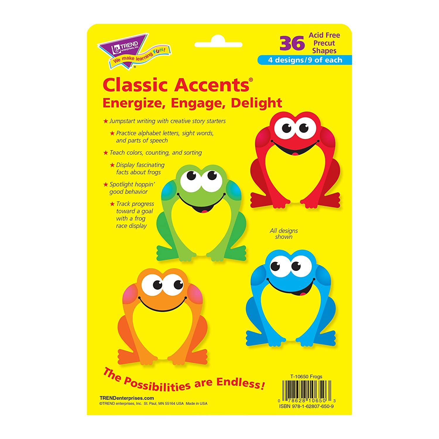 Trend Enterprises Frogs Classic Accents Variety Pack 36 Piece