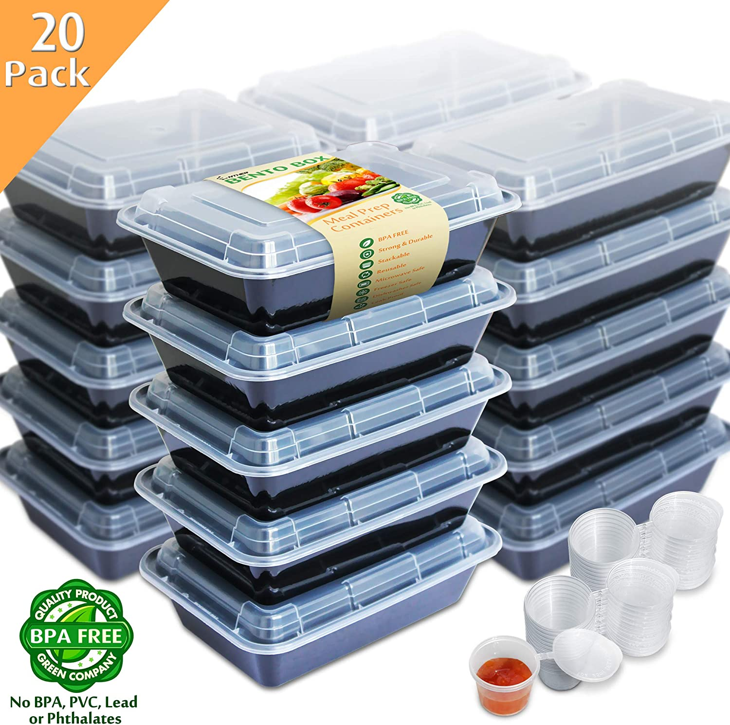 Enther [20 Pack] Single 1 Compartment Meal Prep Containers with Lids, Food Storage Bento Box with Portion Cups, BPA Free, Reusable Lunch Box, Microwave/Dishwasher/Freezer Safe, Portion Control, 28oz