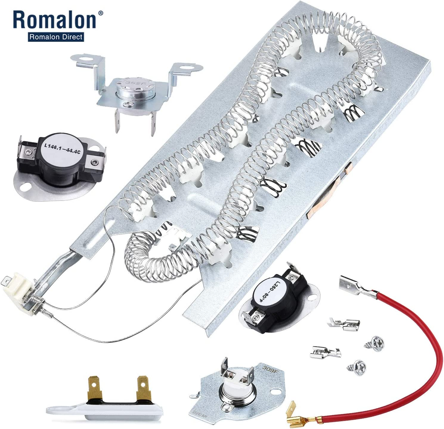 3387747 WP3387747 Dryer Heating Element Replacement for Whirlpool with 279816 Thermostat Kit & 279973 3392519 Thermal Fuse Dryer Thermal Cut-Off Fuse Kit Replace Part # AP6008281 PS11741416