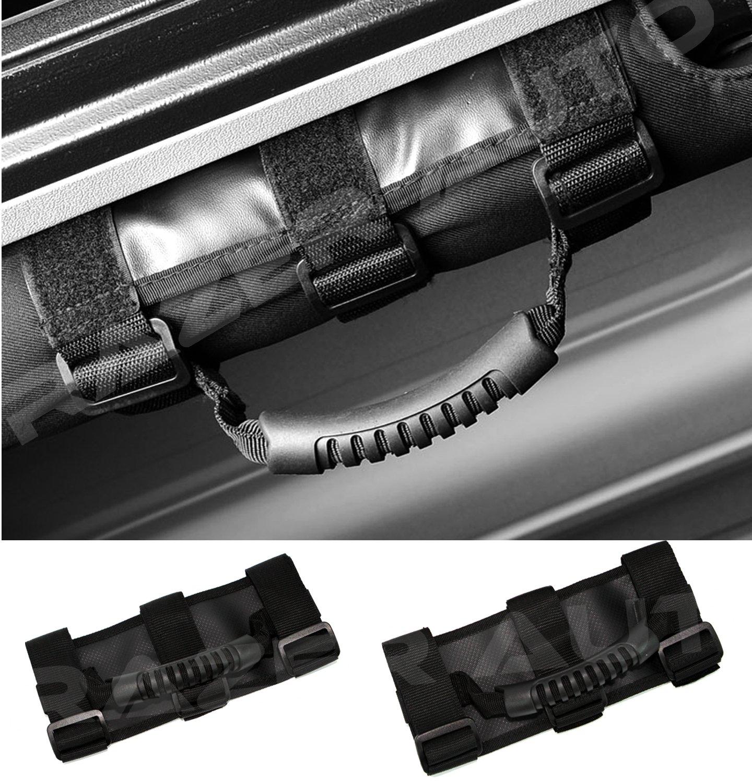 Razer Auto Black Extreme Ultimate Unlimited Roll Bar Side Grab Handle - Pair for 87-16 Jeep Wrangler JK TJ YJ CJ Rubicon RZHSGH-3902