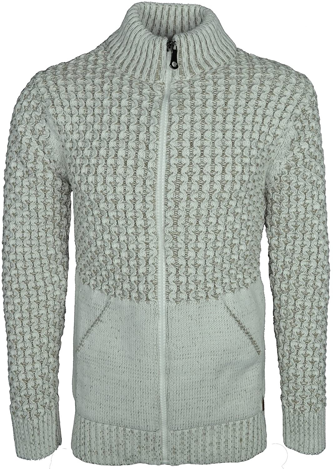 Mens Knitted Cardigan Classic Style Cardigans Zipper Jumper With Front pockets