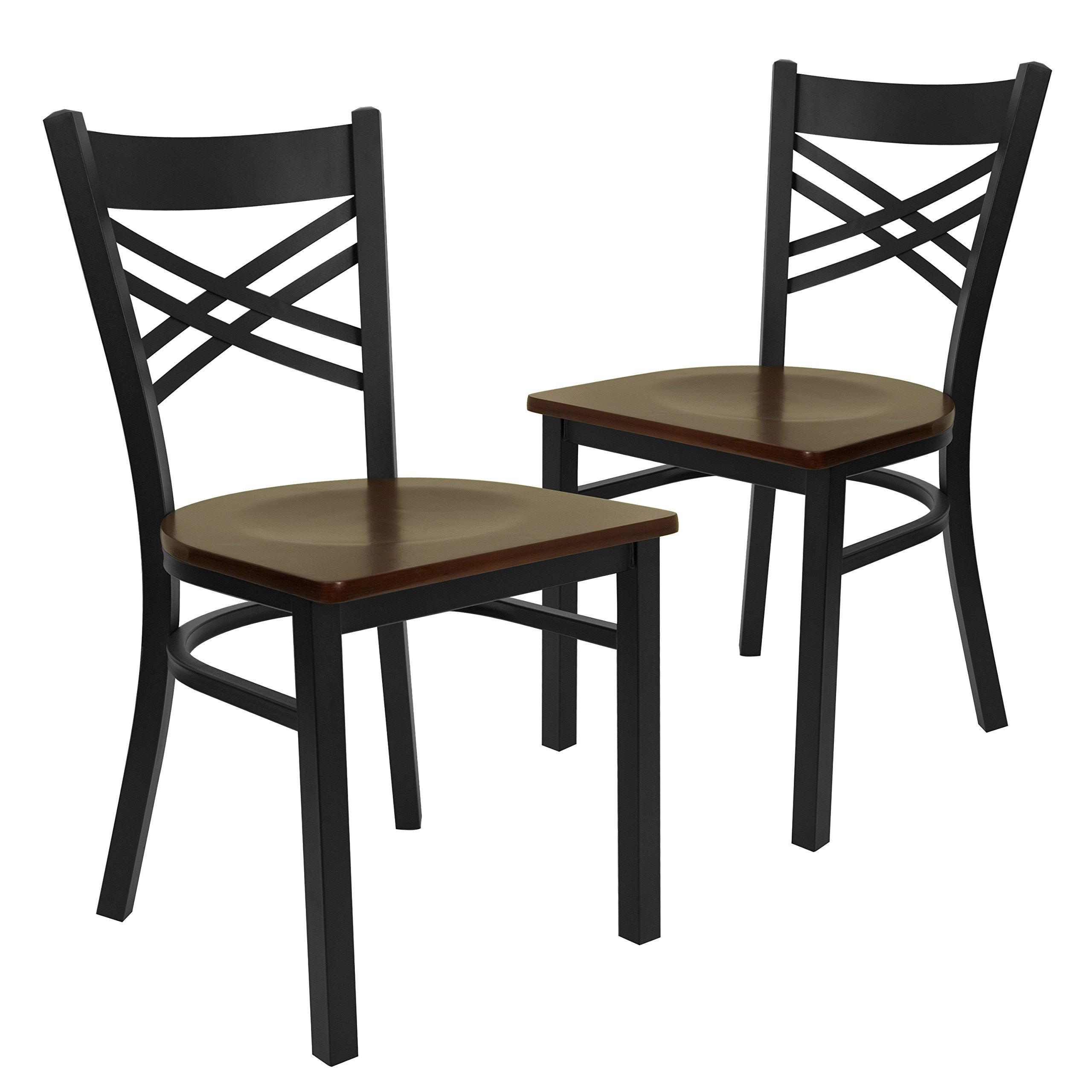 Flash Furniture 2 Pk. HERCULES Series Black ''X'' Back Metal Restaurant Chair - Mahogany Wood Seat