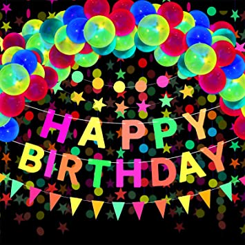 Gejoy 29 Stück Neon Geburtstag Zubehör Neon Happy Birthday Banner Reaktives Uv Neon Papier Kreis Punkte Stern Girlanden Dreiecksflaggen Ammer Fluoreszierende Schwarzlicht Ballons Für Glow Party Baumarkt