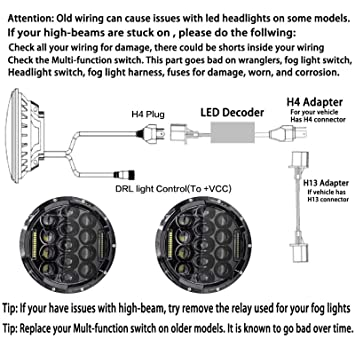 Pair 7 Inch 75W LED Round Headlight H/Lo Beam DRL H6024 Headlamp with H Sealed Beam Wiring Diagram on