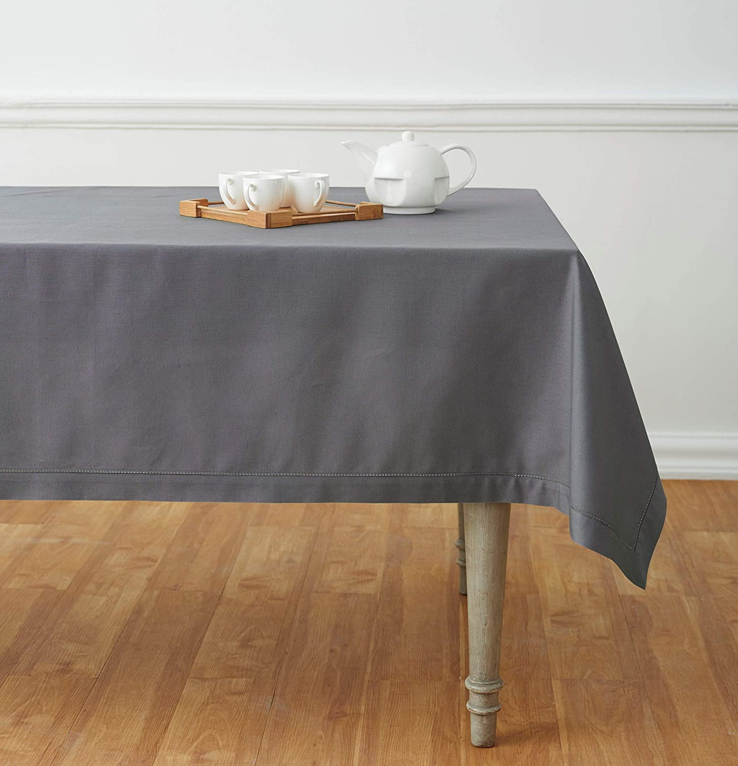Solino Home Hemstitch Cotton Linen Tablecloth – 58 x 84 Inch, Natural Fabric Machine Washable - White Tablecloth for Indoor and Outdoor use: Home & Kitchen