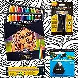 Prismacolor 48-Count Colored Pencils, Triangular Scholar Pencil Eraser, Premier Pencil Sharpener, Colorless Blender Pencils, and CSS Adult Coloring Book