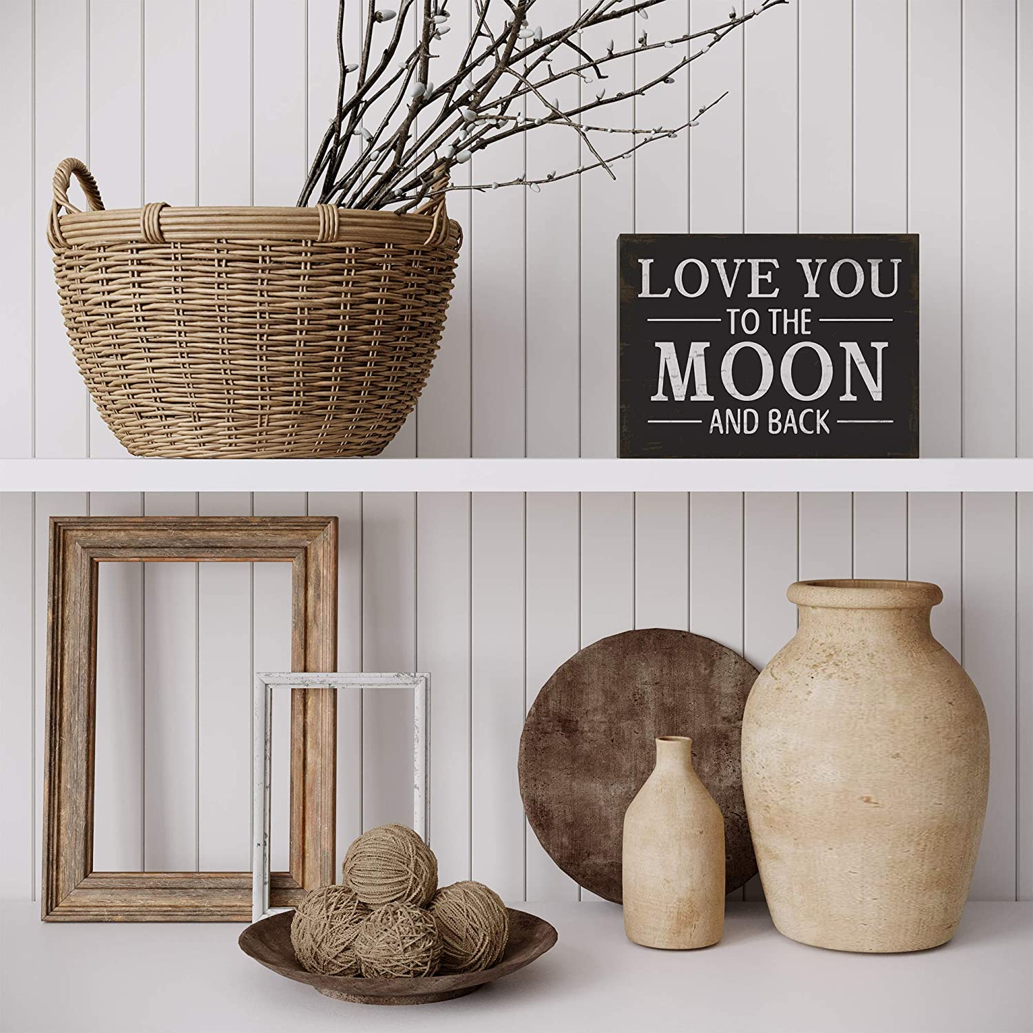 Affordable gifts small sign Rustic farmhouse style. Gifts under 10 Wooden plaque I love you to the moon and back Table top decor