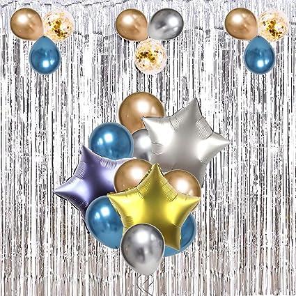 Amazon.com: Juego de 41 globos metálicos, globos azules ...
