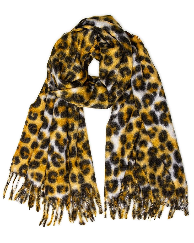 Caspar SC501 Bufanda Suave XL para Mujer con Estampado de Leopardo