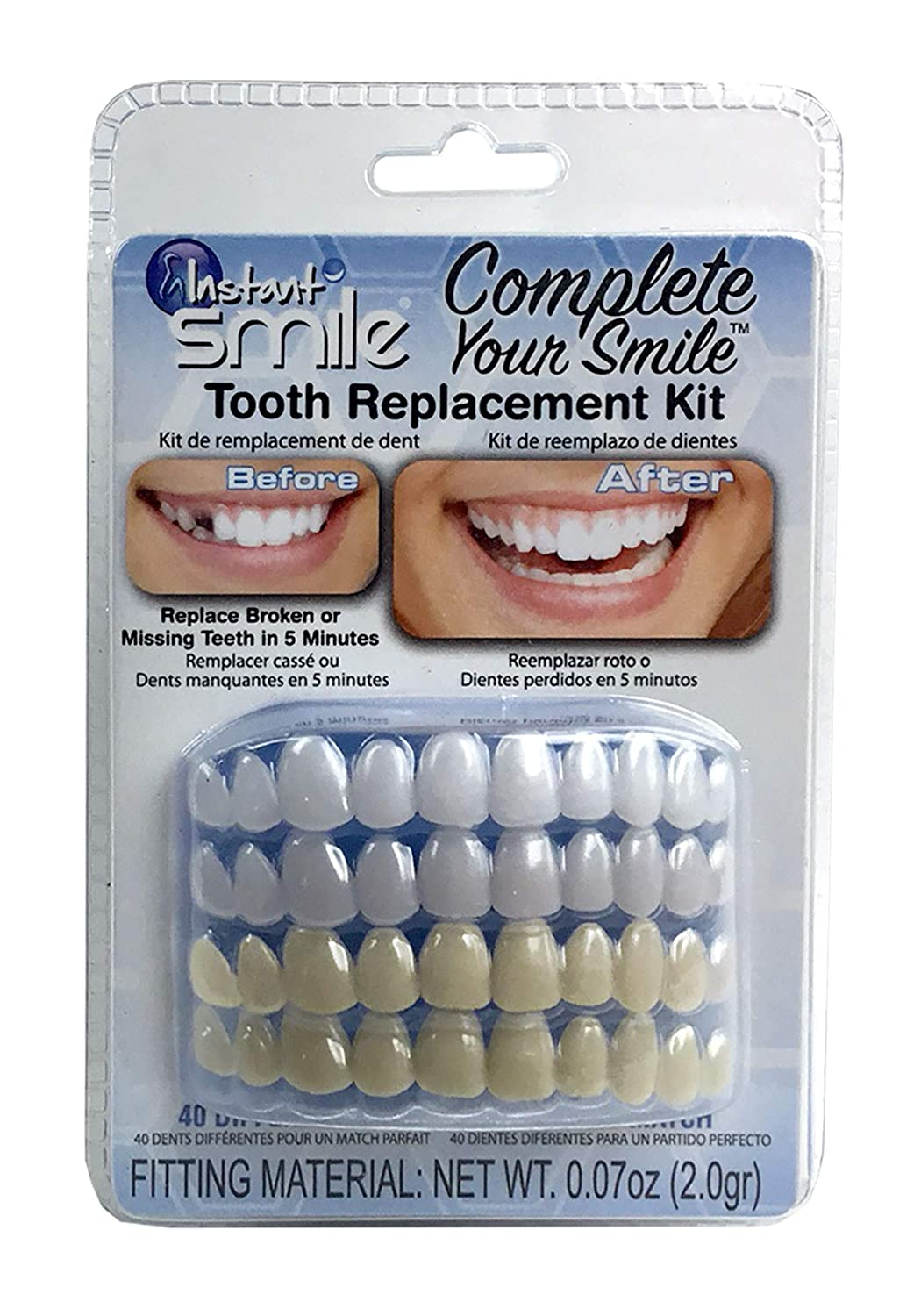 Instant Smile Complete Your Smile Temporary Tooth Replacement Kit - Replace a missing tooth in minutes - Patented