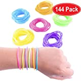 Super Z Outlet 80s Colorful Retro Rock Pop Star Rainbow Diva Disco Jelly Neon Gel Stretchable Bracelets Bands for Theme Events, Colorful Assortment, Assorted Toy Party Favor Prizes (Assorted 144pk)