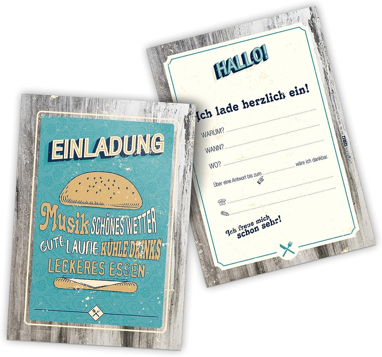 itenga 12 x Einladungskarten BBQ rustikal rot braun Grillparty Geburtstag Vintage Holz DIN A6 hoch